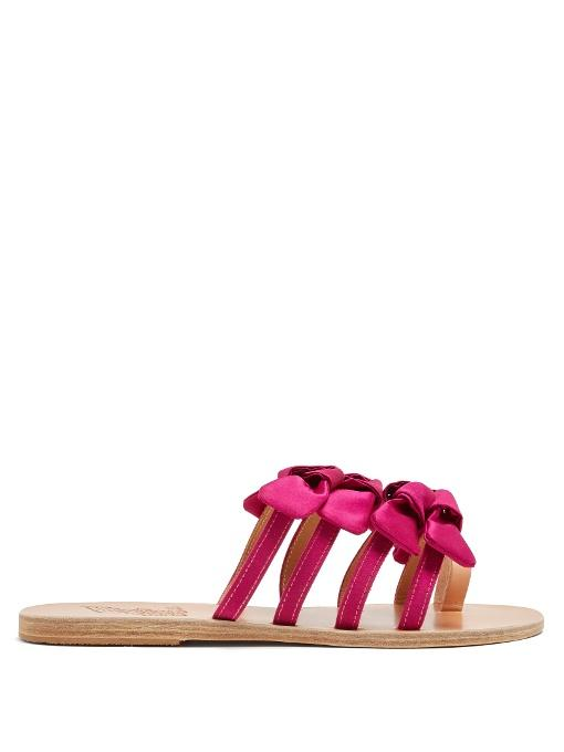 35be5a00e309 Ancient Greek Sandals - Hara Bow Embellished Satin Slides - Womens - Fuchsia