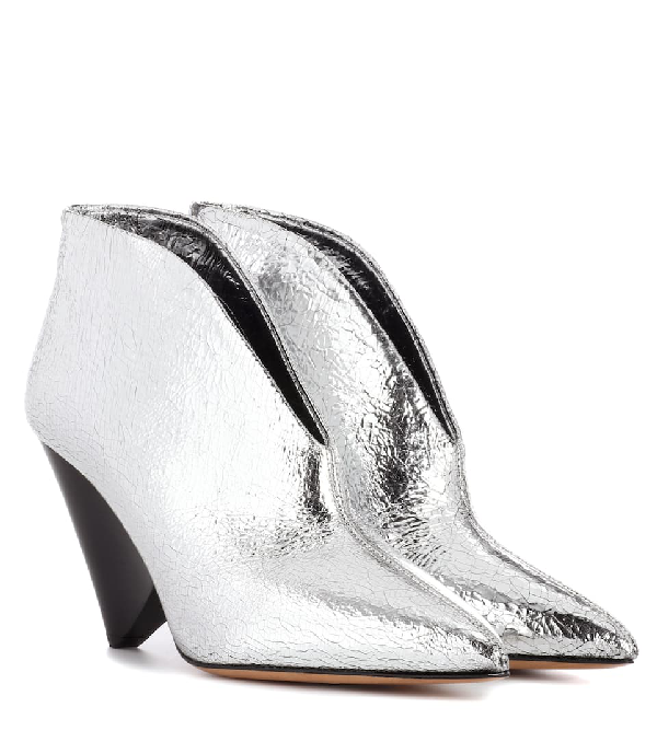 61aa1e17318a Isabel Marant Adenn Crack Metallic-Leather Booties In Silver | ModeSens