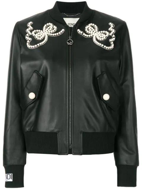 Fendi Embellished Leather Bomber Jacket In Black