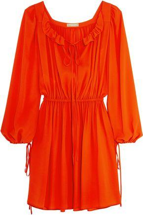 Michael Kors Woman Ruffle-Trimmed Gathered Silk Dress Bright Orange In Red