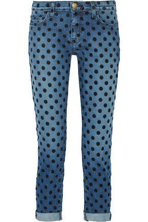 Current Elliott Woman The Fling Flocked Mid-Rise Straight-Leg Jeans Mid Denim