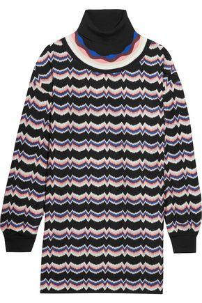 Missoni Woman Wool-Blend Crochet-Knit Turtleneck Tunic Multicolor