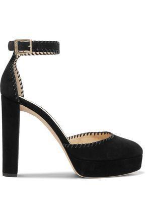 Jimmy Choo Woman Daphne 120 Whipstitched Suede Platform Pumps Black