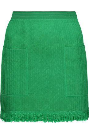 Missoni Woman Fringed Crochet-Knit Wool-Blend Mini Skirt Green