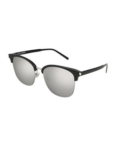 ff5c8794271 Saint Laurent Men's Zero Base Mirrored Square Sunglasses, 56Mm In  Black/Silver