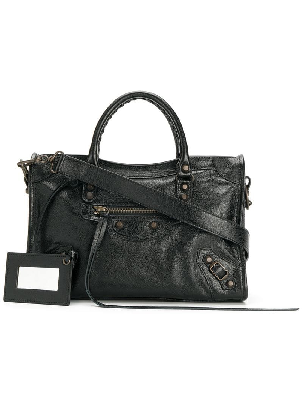 f76299d5bc Balenciaga Classic City Aj Satchel Bag With Logo Strap In 1000 Black ...