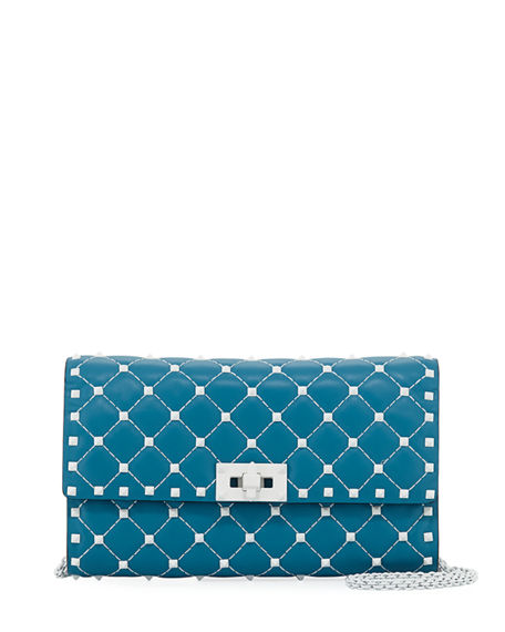 0183ea5caf Valentino Free Rockstud Spike Small Quilted Napa Leather Shoulder Bag In  Blue