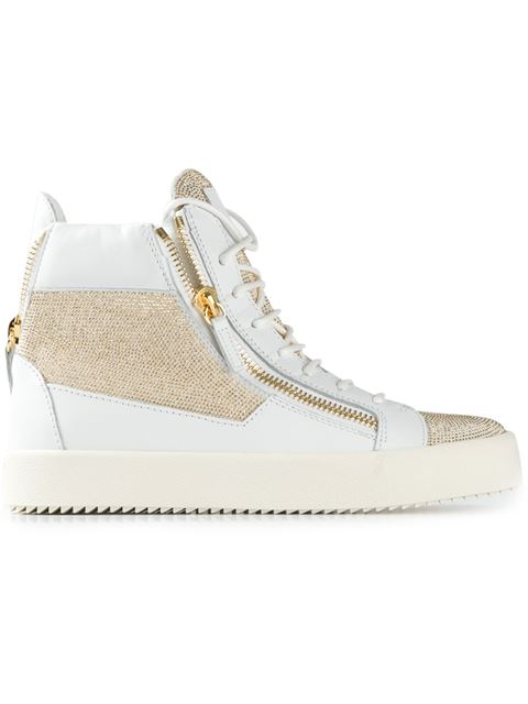Giuseppe Zanotti Nailhead Double-Zip Sneakers In White