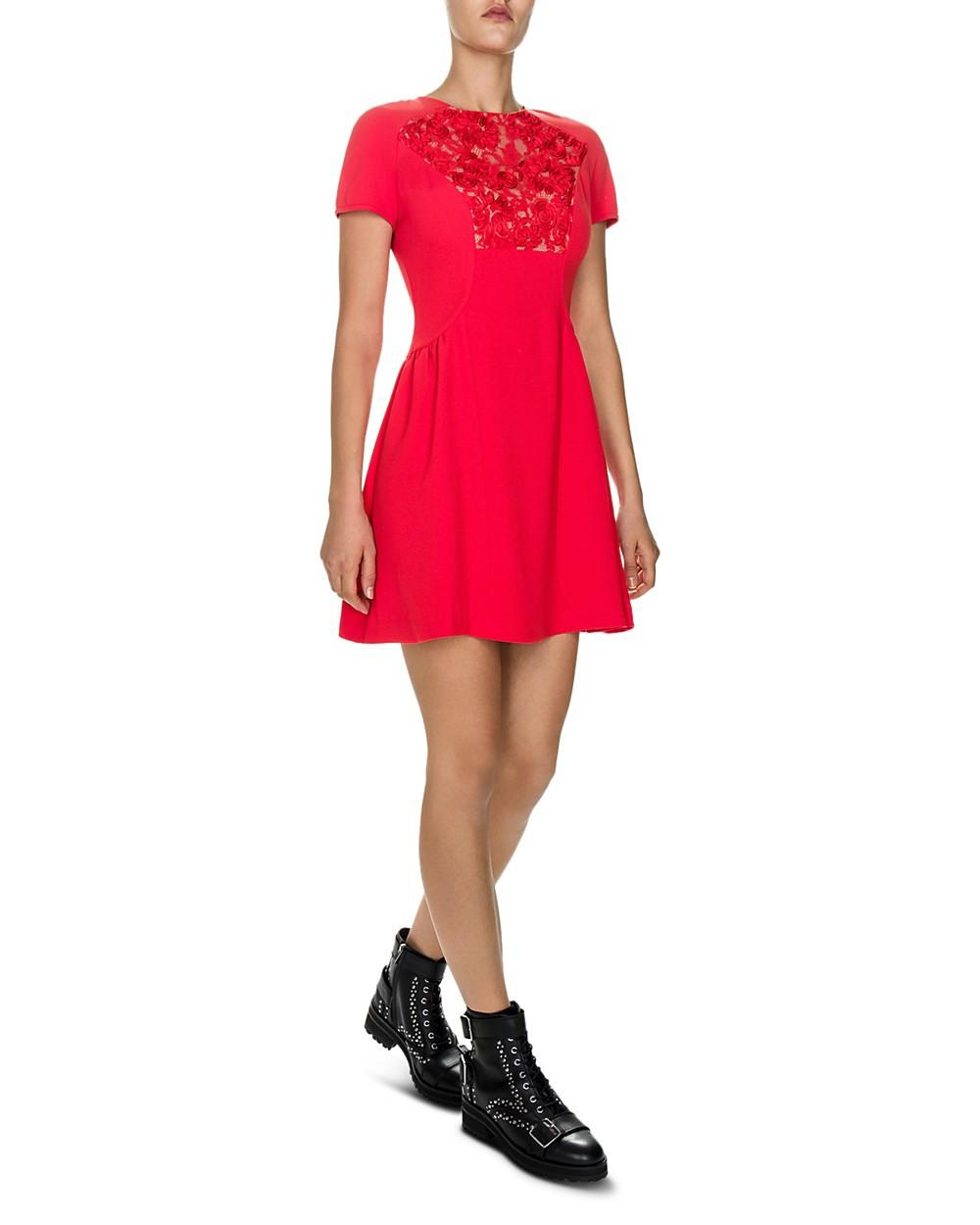 The Kooples Lace Inset Dress In Red