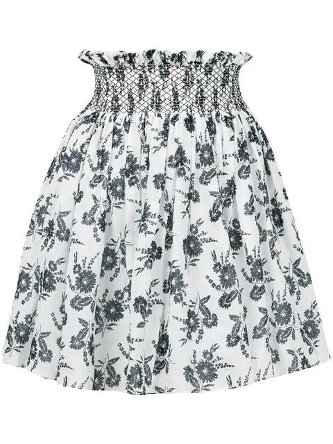 6414b178914 Miu Miu Floral-Print Smocked-Waist Mini Skirt In White