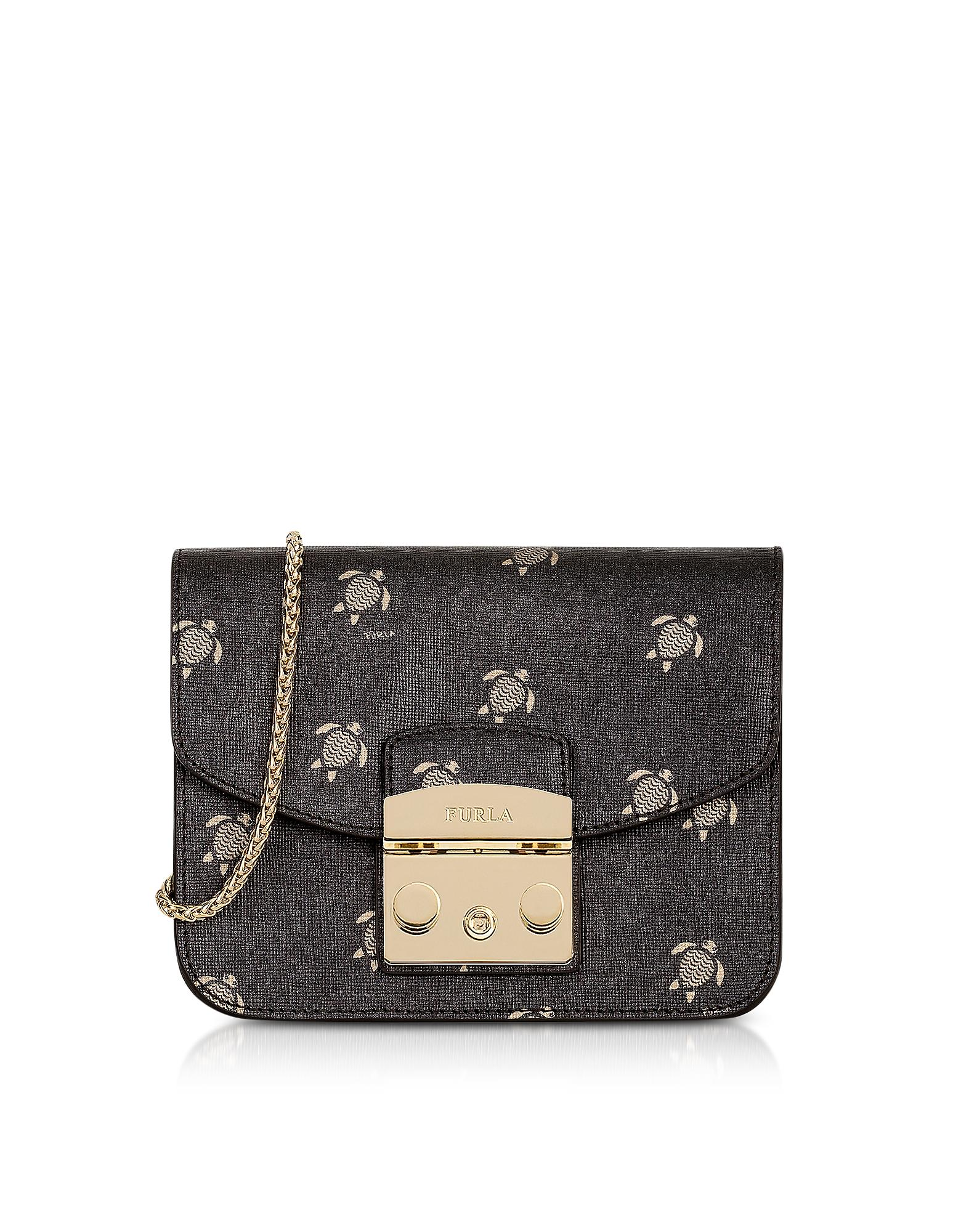 c03bff05f42f Furla Toni Onyx Mini Turtle Printed Saffiano Leather Metropolis Mini  Crossbody Bag In Black