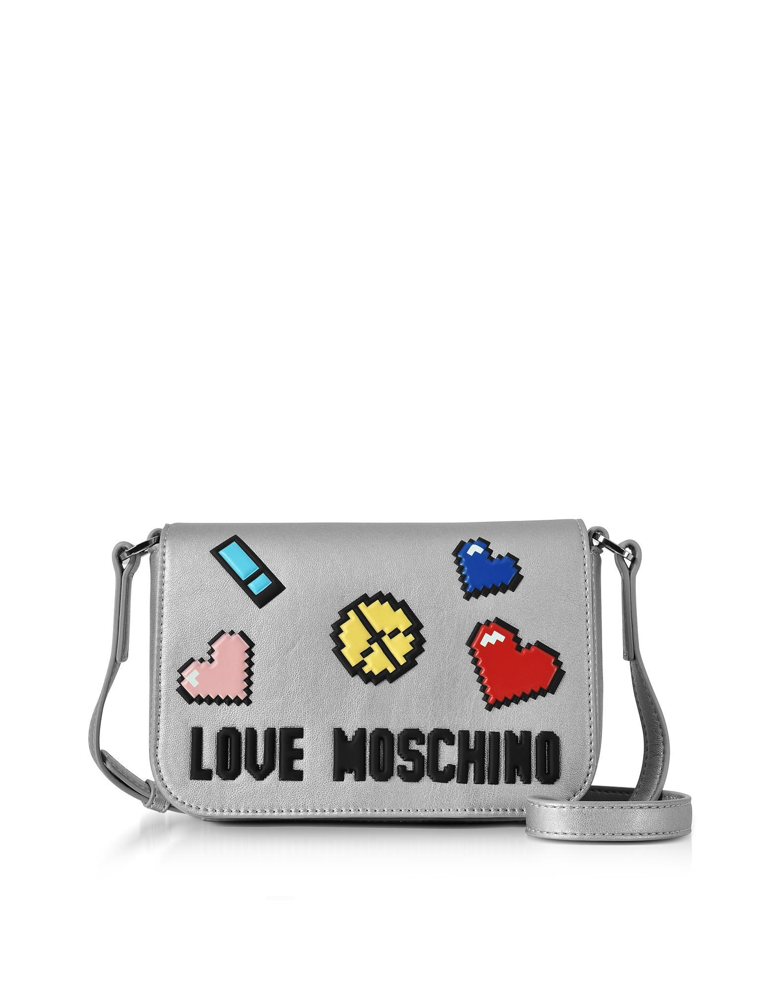 9437782a9e13 Love Moschino Love Pixel Silver Eco-Leather Crossbody Bag