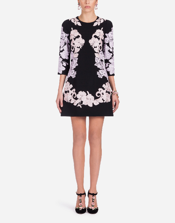 Dolce & Gabbana Stretch Cady Dress In Black