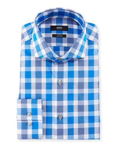 0319bf2ce Boss Jason Slim Fit Easy Iron Large-Plaid Cotton Dress Shirt, Medium Blue