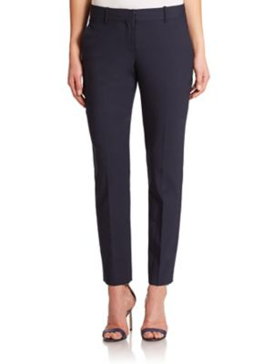 Theory Testra Edition Stretch Cropped Pants In Deep Navy