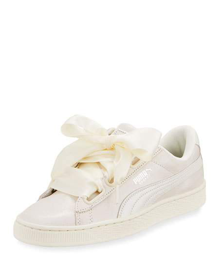 Puma Basket Heart Lace-Up Sneakers In Cream