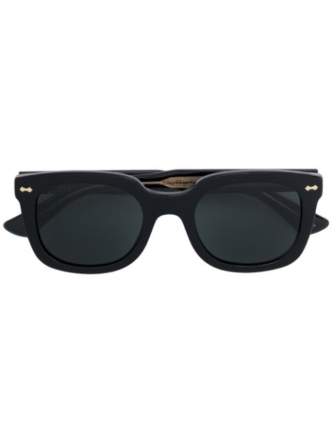 Gucci Rectangle Frame Sunglasses In 001 Black