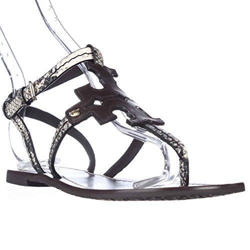 ff9f11dc6 Tory Burch Phoebe Elba Thong Logo Flat Sandals - Dark Brown Snake ...