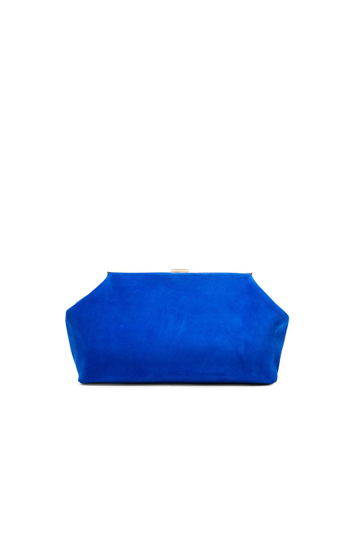 Mansur Gavriel Suede Volume Clutch In Blue