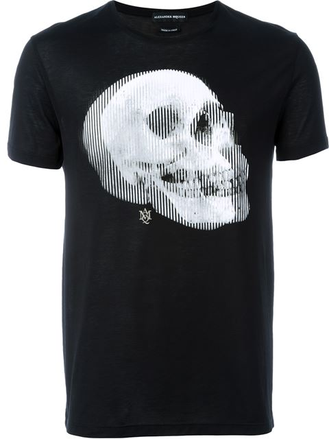 Alexander Mcqueen Printed Cotton T-shirt In Black