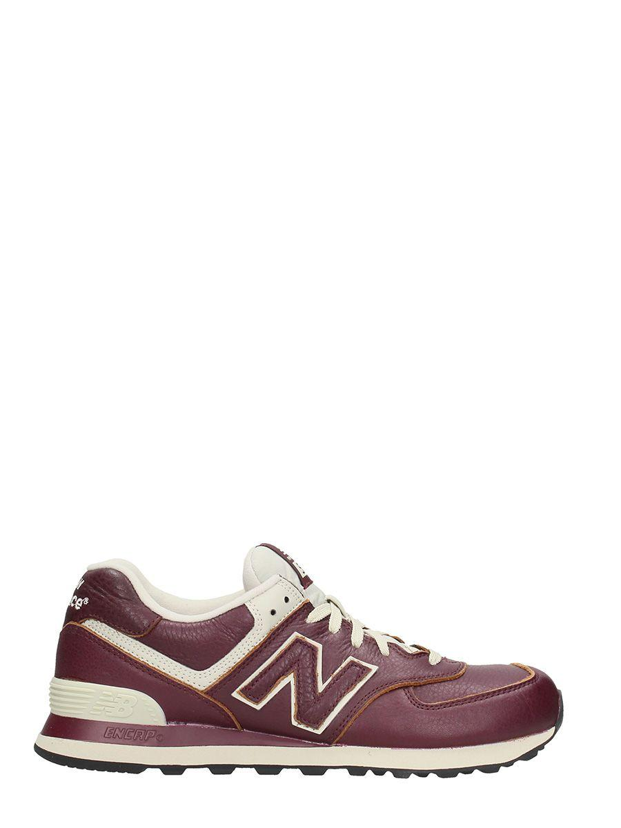 New Balance 574 Bordeaux Leather Sneakers | ModeSens