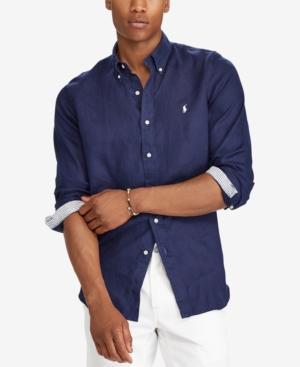 5213df54 Polo Ralph Lauren Classic Fit Linen Long Sleeve Button-Down Shirt In  Newport Navy