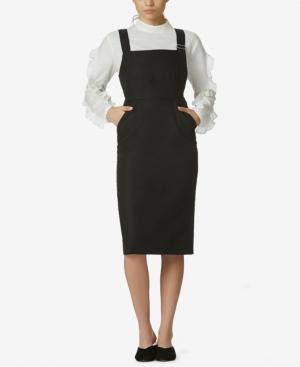Avec Les Filles Structured Apron Dress In Black