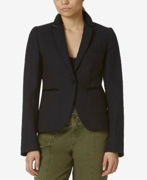Avec Les Filles Quilted Cotton Blazer In Navy