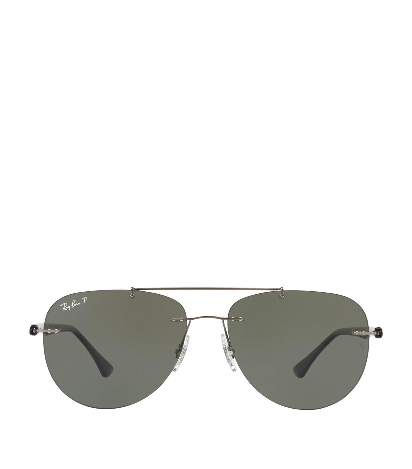 dfd4c706954 Ray Ban Phantos 57Mm Polarized Rimless Aviator Sunglasses - Polar Gunmetal  In Green