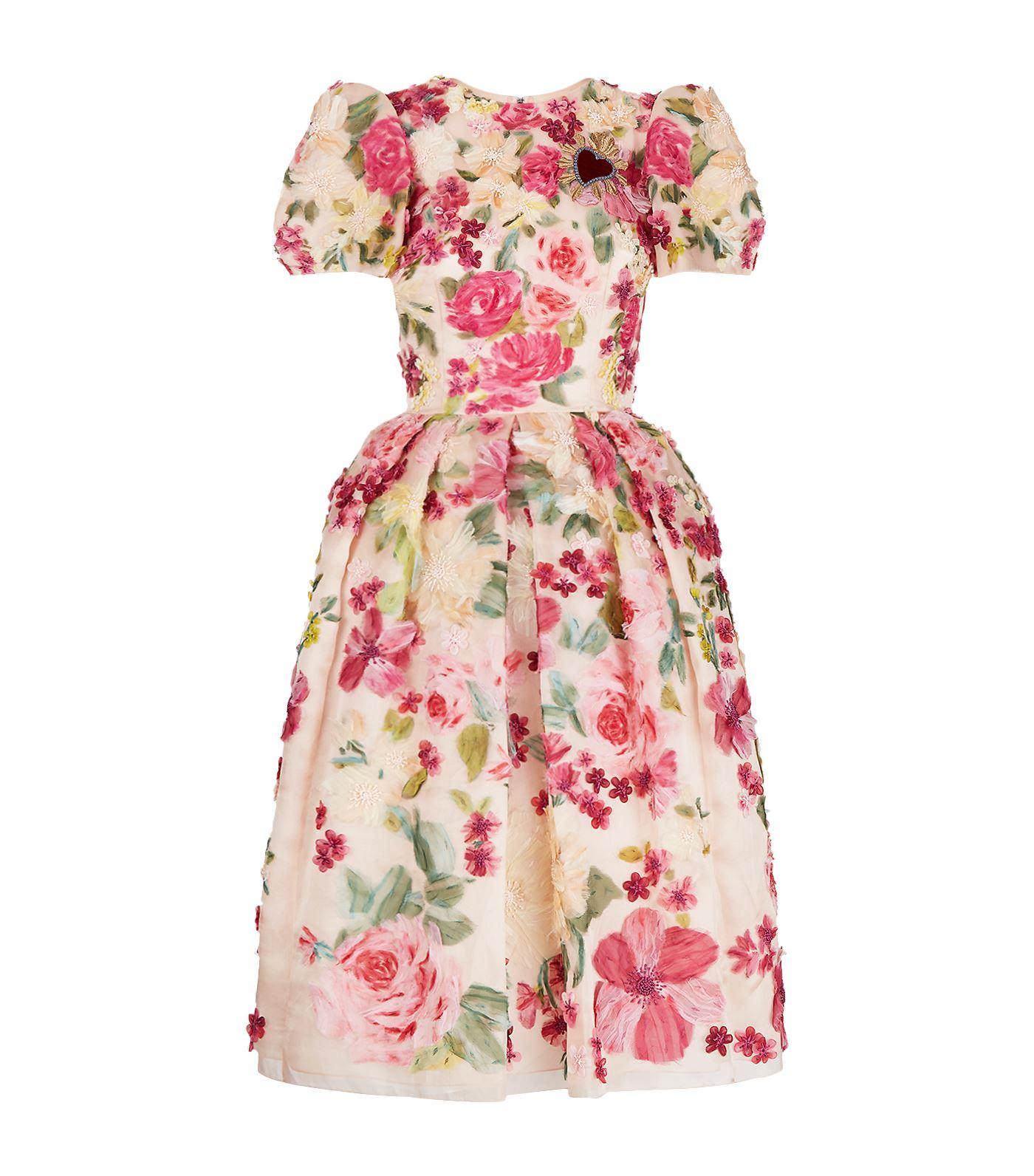 Dolce & Gabbana Floral AppliquÉ Dress In Multi