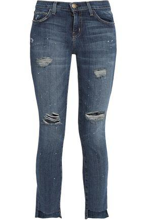 Current Elliott Woman The Uneven Cut Distressed Mid-Rise Skinny Jeans Mid Denim