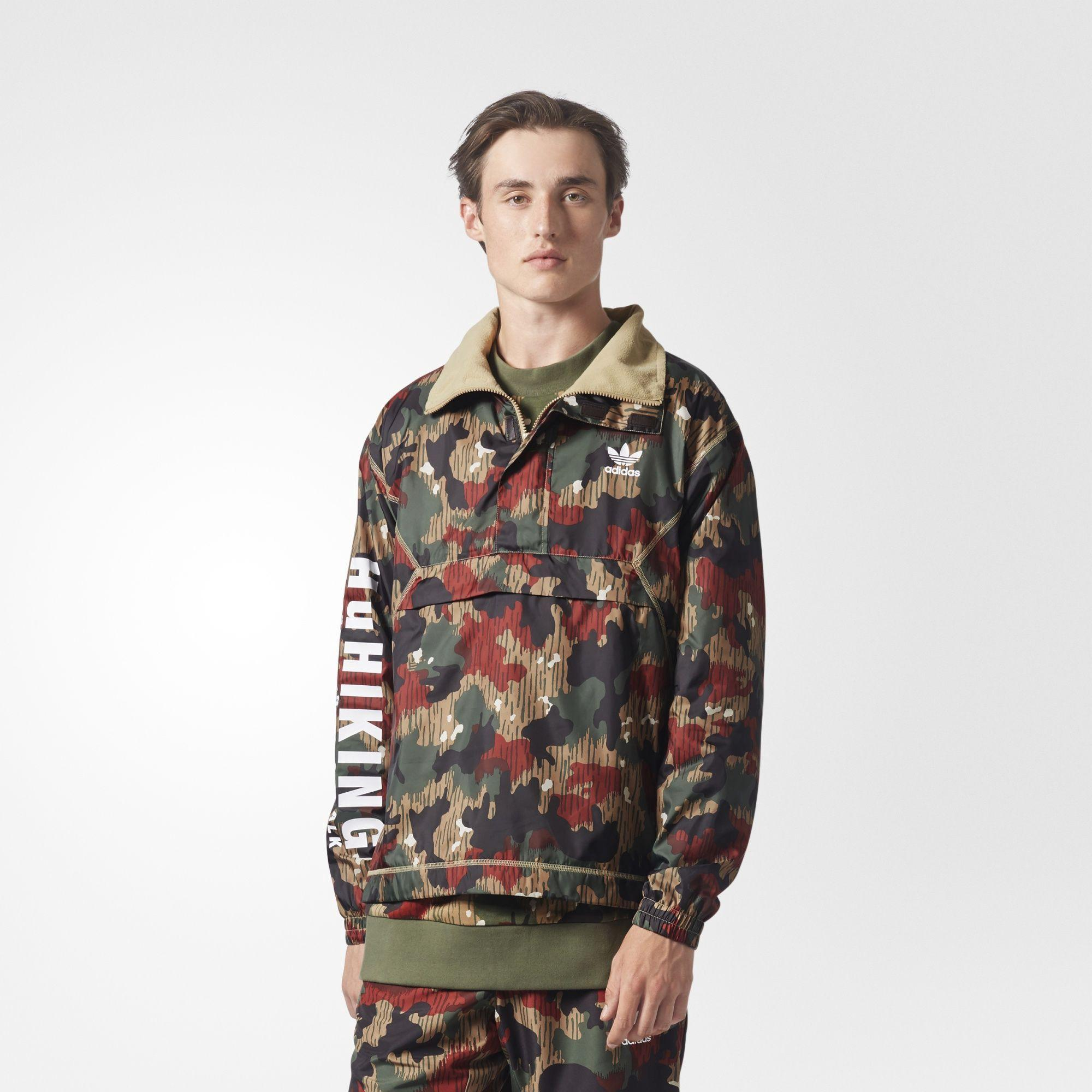 b8521e28728d ADIDAS ORIGINALS. X Pharrell Williams Hu Hiking Half Zip Windbreaker In Camo  ...
