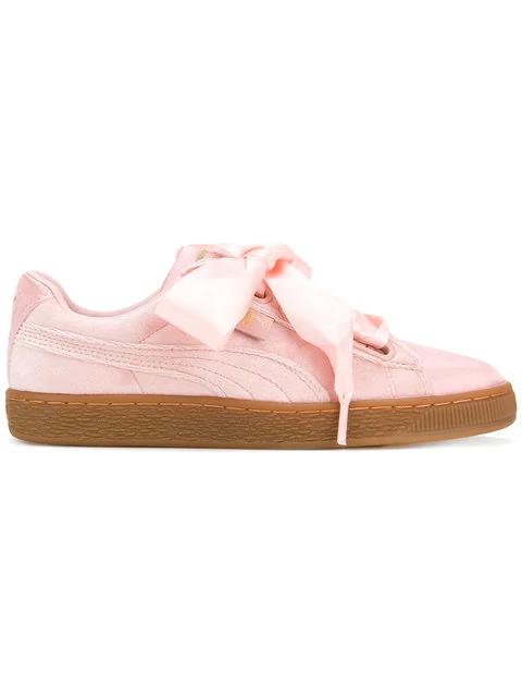 new arrival 94de2 b256e Basket Heart Sneakers In Pink Velvet - Pink