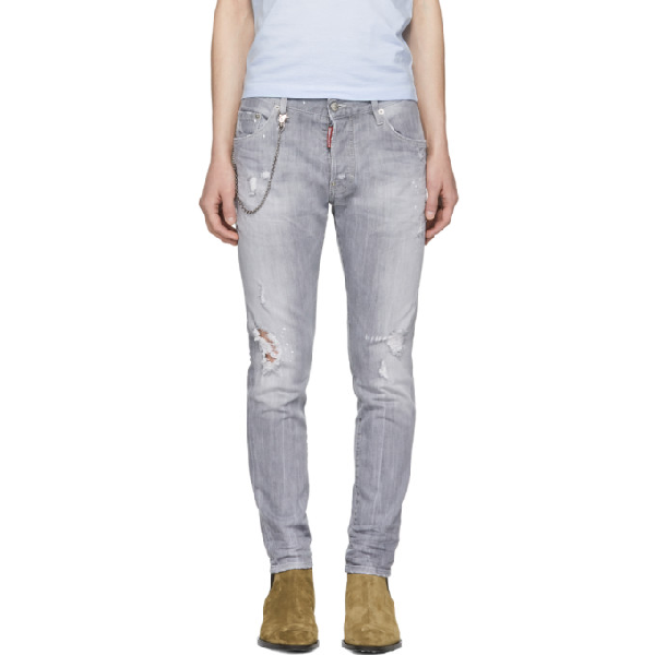 fba67491 Dsquared2 Distressed Skater Jeans In 852 Lt Gry | ModeSens
