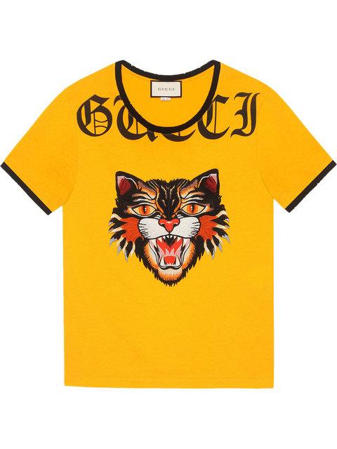f6afe9f867d4 Gucci T-Shirt With Angry Cat AppliquÉ | ModeSens
