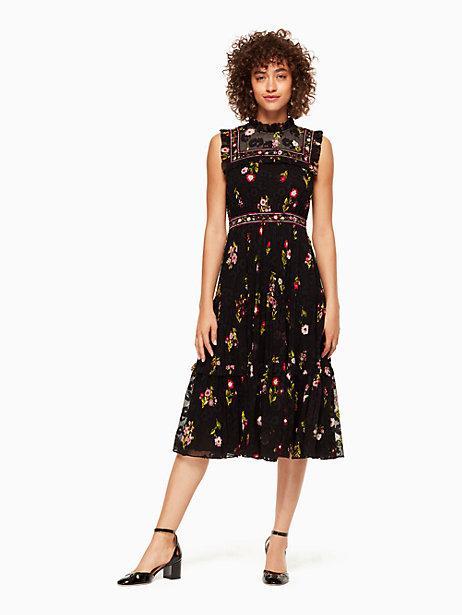 a139c254c2a Kate Spade In Bloom Chiffon Midi Dress In Black