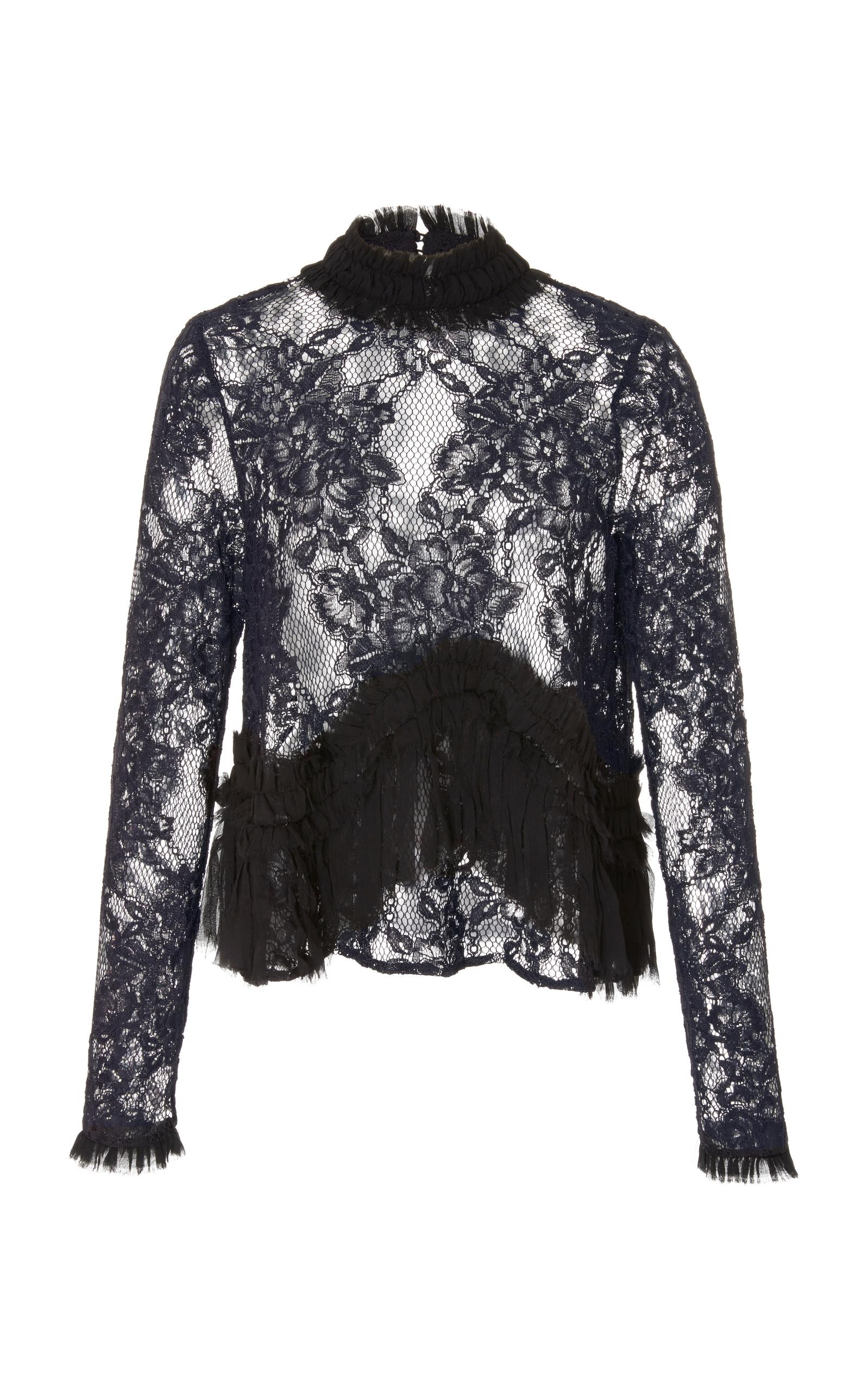 90b5dff9053db Alexis Karenza Long-Sleeve Lace Top With Ruffled Trim In Black ...