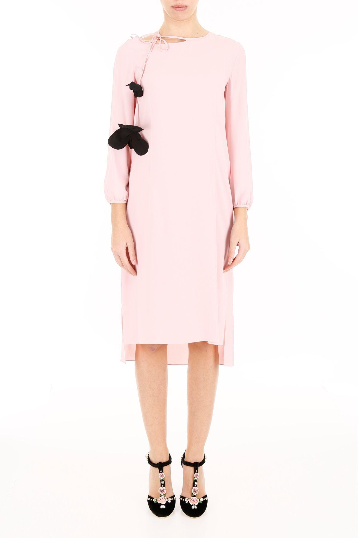 Marni Silk Dress With Flower In Cinder Rose (Pink)