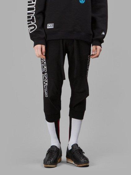 Ktz Cropped Embroidered Cotton Jogging Pants In Black/white