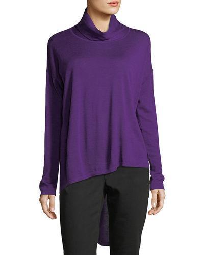 f57ddbaa48afd Eileen Fisher High-Low Ultrafine Merino Wool Top In Ultraviolet ...