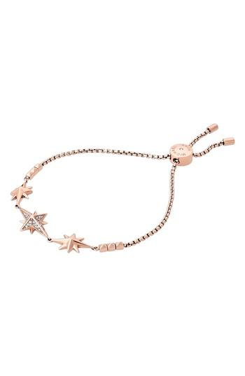 Michael Kors Adjustable Slide Charm Bracelet In Rose Gold