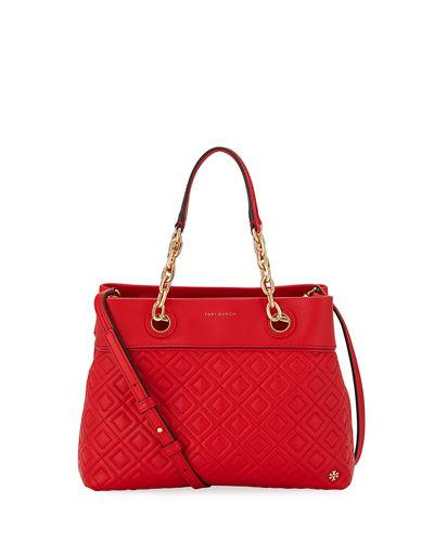 9d090ff57cd1 Tory Burch Fleming Small Quilted Leather Tote Bag In Exotic Red ...