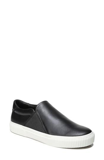 Vince Women's Knox Leather Slip-On Sneakers In Black Leather