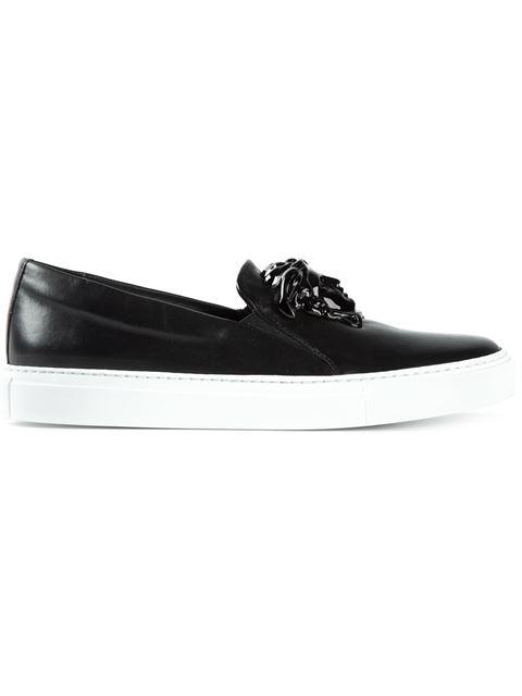 Versace Black Leather Medusa Slip-On Sneakers