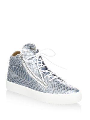 c4c9cc1af4295 Giuseppe Zanotti Metallic Snakeskin High-Top Sneakers In Ice | ModeSens