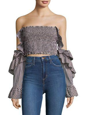 Petersyn Off The Shoulder Checkered Top In Black Multi