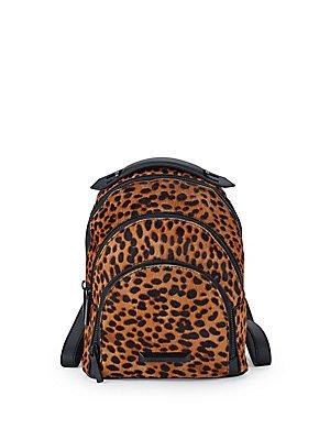 Kendall + Kylie Sloane Leopard Backpack In Dark Beige