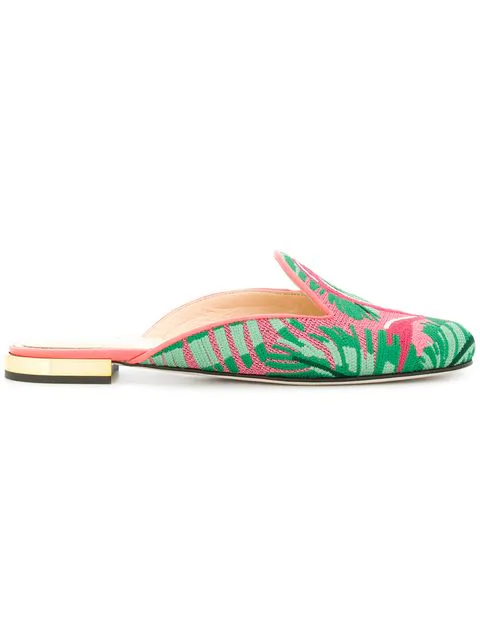 Charlotte Olympia Flamingo Embroidered Slipper Shoes In Multi