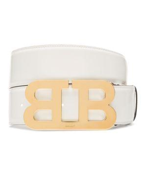 Bally Mirror B Patent Leather Belt In White