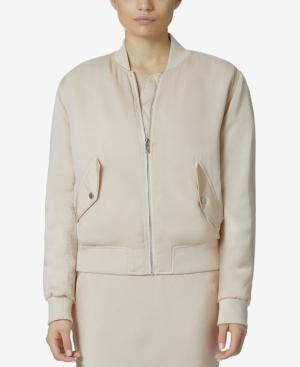 Avec Les Filles Collarless Bomber Jacket In Pale Peach